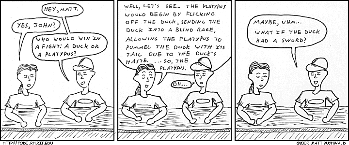 Comic graphic for 2003-08-24: Fear the Platypus